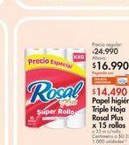 Oferta de Papel higiénico Rosal por $16.99
