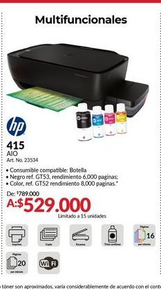 Oferta de Impresora multifuncional HP por $529000