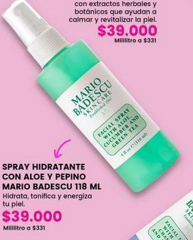 Oferta de Spray hidratante con aloe y pepino MARIO BADESCU por $39000