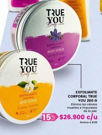 Oferta de Crema exfoliante CORPORAL true you por $26900