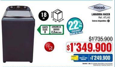 Oferta de Lavadora carga superior Haceb por $1349900
