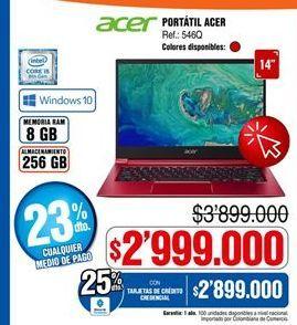 Oferta de Computador Portátil Acer por $2999000