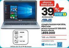 Oferta de Computador Portátil Asus por $859000