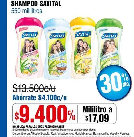 Oferta de Shampoo Savital por $9400
