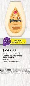 Oferta de Crema hidratante Johnson's por $29750
