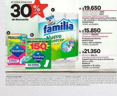Oferta de Toallas higiénicas Nosotras por $19650