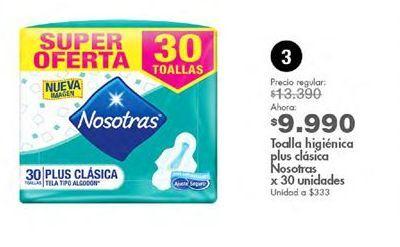 Oferta de Toallas higiénicas Nosotras por $9990