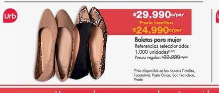 Oferta de Baletas mujer Urb por $29990