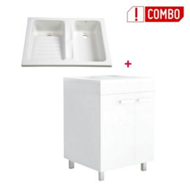 Oferta de Combo Mueble Lavadero Valento 85x79x59 cm + Lavarropas Eco 80x60 cms por $649800