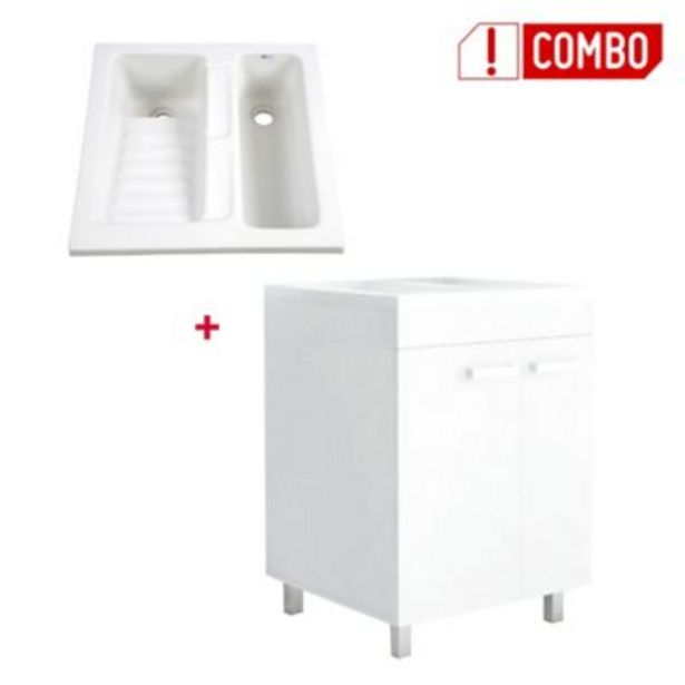 Oferta de Combo Mueble Lavadero Valento 85x59x59 cm + Lavarropas Eco 60x60 cms por $545800