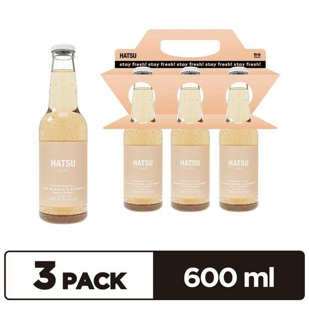 Oferta de 3 pack soda Hatsu Uva blanca y romero x 300 ml por $5587