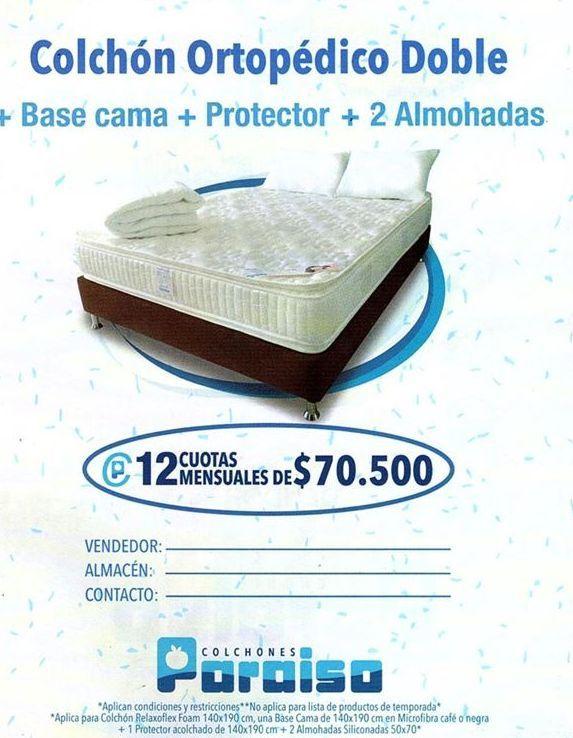 Oferta de Colchón ortopédico Paraiso por $70500