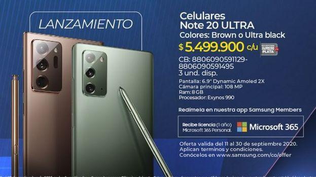 Oferta de Samsung Galaxy Note Samsung por $5499900