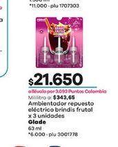 Oferta de Ambientador repuesto electrico brindis frutal x 3unidades GLADE 63ml  por $21650