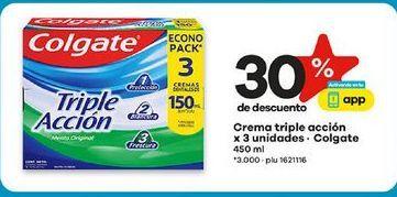 Oferta de Crema triple accion x 3 unidades COLGATE x 3 unidades 450ml  por