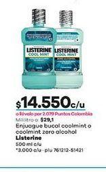 Oferta de Enjuague bucal coolint o coolmint zero alcohol Listerine 500ml  por $14550
