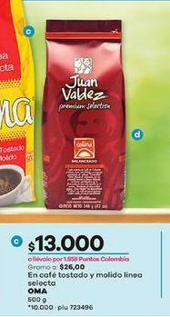 Oferta de En cafe tostado y molido linea selecta OMA 500g por $13000