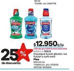 Oferta de Enjuague bucal glacial, ice fusion o soft mint plaz Colgate 500ml  por $12950