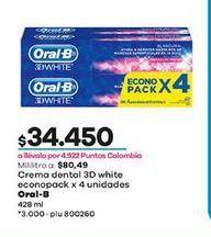 Oferta de Crema dental 3d white x 4 unidades 428ml  Oral B por $34450