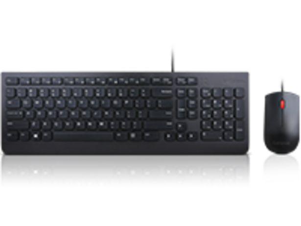 Oferta de Combo de teclado y mouse con cable esencial Lenovo (español de Latinoamérica 171) por $99900