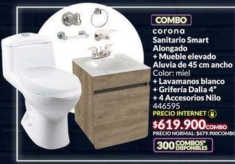 Oferta de Combo para baño, sanitario + mueble elevado + lavamanos+ griferia + 4 accesorios por $619900