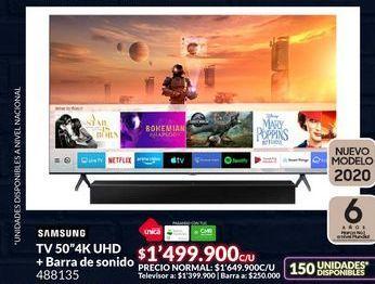 Oferta de Tv led 50'' Samsung + barra de sonido por $1499900