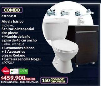 Oferta de Combo de baño Saanitario + mueble de baño + lavamanos + 3 accesorios + griferia por $459900