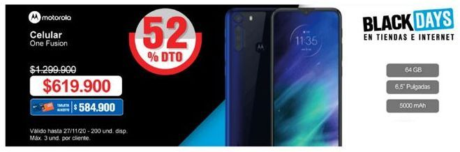 Oferta de Celular libre Motorola por $619900