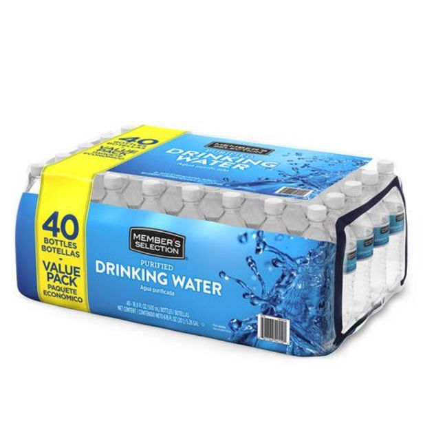 Oferta de Member's Selection Agua purificada, 500 ml/16.9 oz, 40 unidades. por $19500