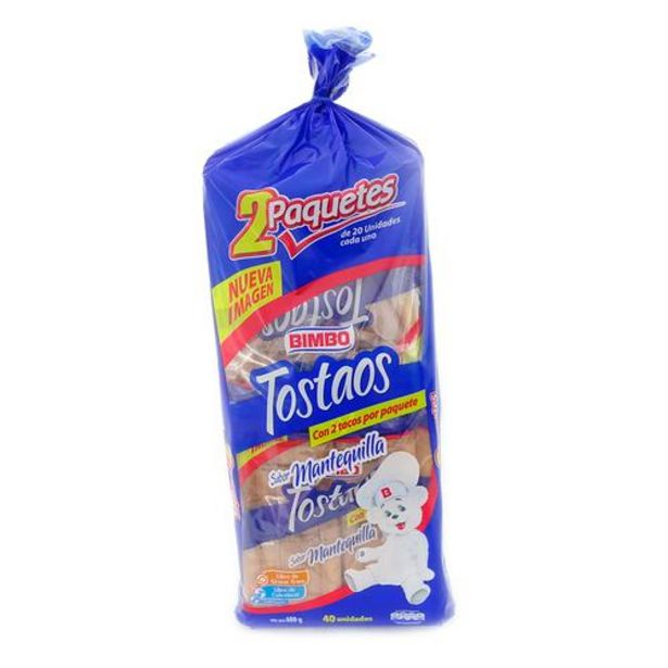 Oferta de Bimbo Tostadas Sabor Mantequilla Tostaos 2 Paquetes de 300 g por $8900