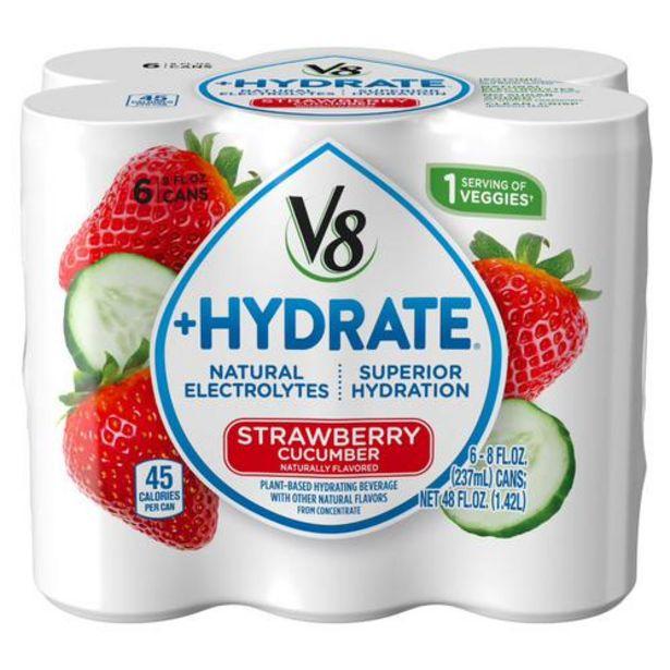 Oferta de V8 +Hydrate Agua de fresa y cohombro, 6 unidades/8 oz por $10700