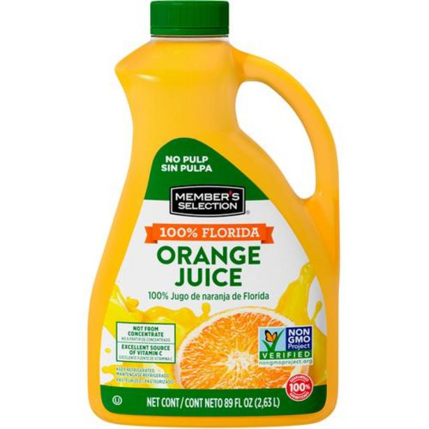 Oferta de Member's Selection 100% Jugo de Naranja de Florida 2,63 L / 89 fl oz por $26500