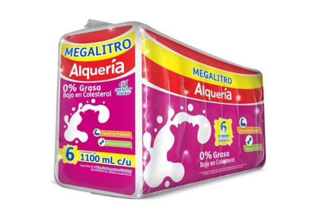 Oferta de Leche 0% grasa sixpack Alqueria x 1100 ml c.u por $21400