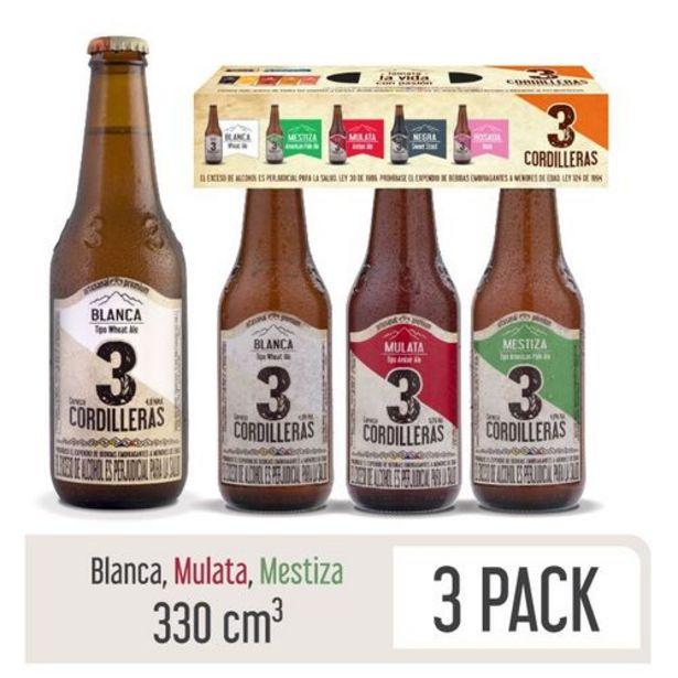 Oferta de Cerveza Artesanal 3 Cordilleras Pack Surtido 3 Botellas x 330 ml c.u por $10560