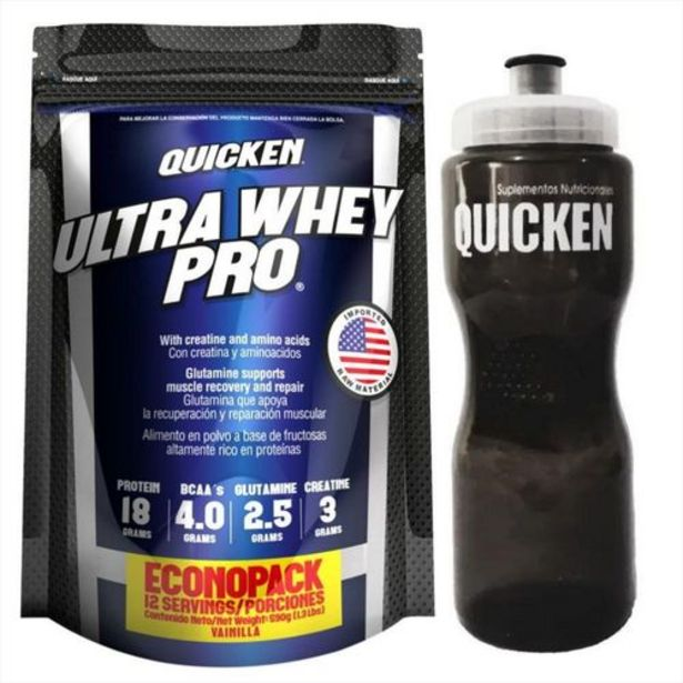 Oferta de Whey Protein Quicken Pro Bolsa 590 Gr + Shaker por $36424