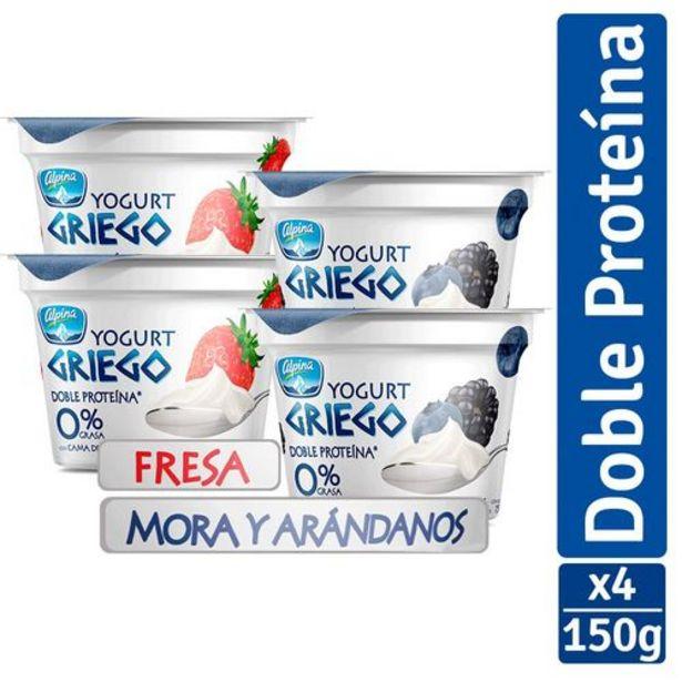 Oferta de Yogurt Griego Alpina Mora y Arándanos paq x 4 und  (vaso x 150 g c.u.) por $7790