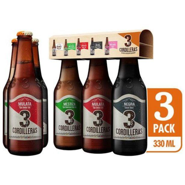 Oferta de Cerveza Artesanal 3 Cordilleras Pack Surtido 3 Botellas x 330 ml c.u por $12050