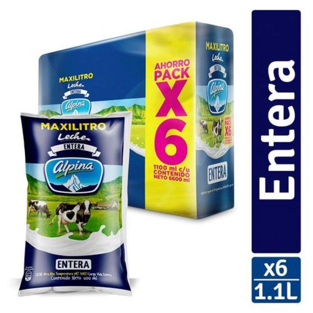 Oferta de Leche Entera Alpina Sixpack x 6 unds (Bolsa x 1100 ml c.u) por $16425