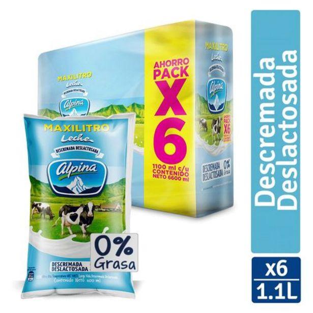 Oferta de Leche Deslactosada Descremada Alpina Sixpack x 6 unds ( Bolsa x 1100 ml c.u.) por $22230