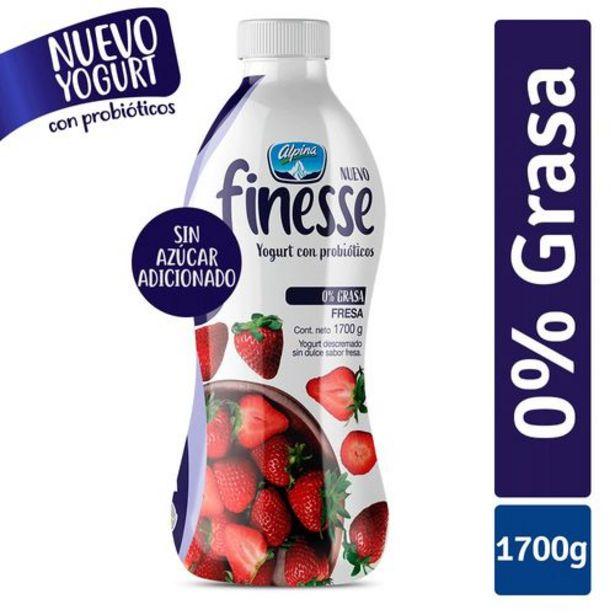 Oferta de Yogurt Fresa Sin Dulce Garrafa FINESSE 1700 Gramos por $12350
