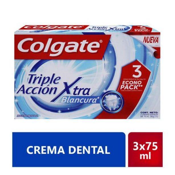 Oferta de Crema Dental Colgate Triple Acción Extra Blancura Oferta 3x75 ml c/u por $9600