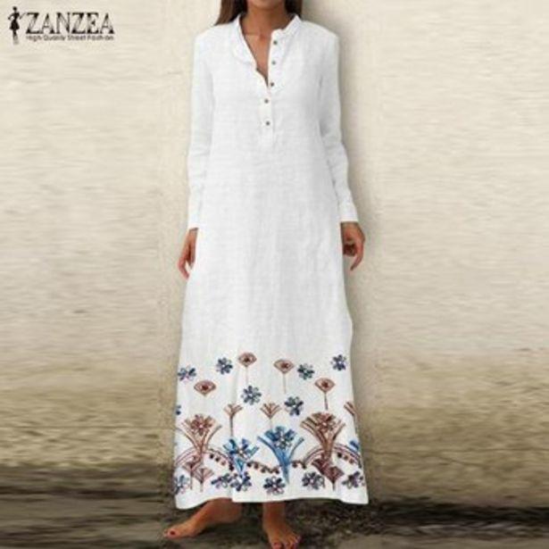Oferta de ZANZEA Camisa de vestir larga de playa de manga larga con cuello en V floral para mujer Vestido largo de Kaftan -Blanco por $87900