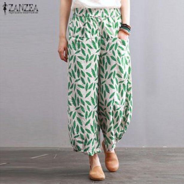 Oferta de ZANZEA floral de las mujeres de la pierna ancha de gran tamaño Plus Plain pantalones flojos pantalones cosechados -Verde por $67900