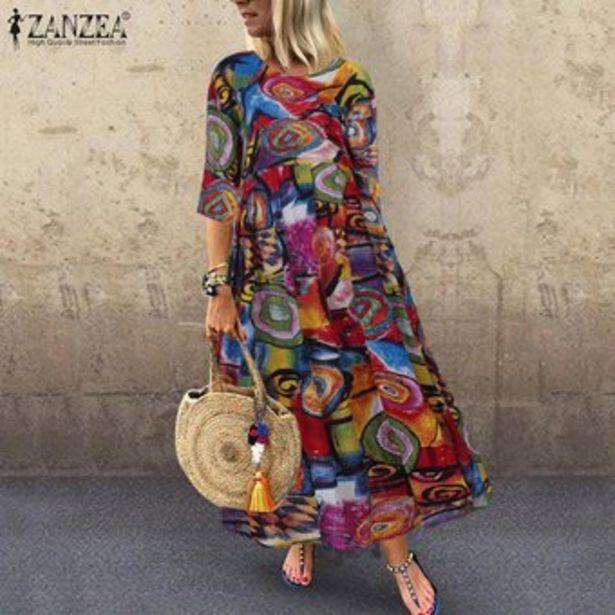 Oferta de Vestido Largo con Estampado Floral Zanzea para Mujer-Multicolor por $87900