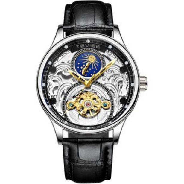 Oferta de TEVISE Luxury Tourbillon Relojes mecánicos automáticos Hombres Self Wind Business Cuero genuino Moon Phase Wristwatches T820A por $131970