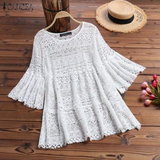Oferta de ZANZEA Camisa de mujer con mangas de campana Tops Detalle de encaje Blusas ahuecadas Blusa de ganchillo suelta -Blanco por $65900