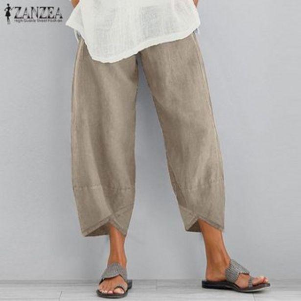 Oferta de ZANZEA vendimia de las mujeres ocasionales anchas piernas sueltan los pantalones Harem Llanura Midi pantalones pantalones más el tamaño -Beige por $70900