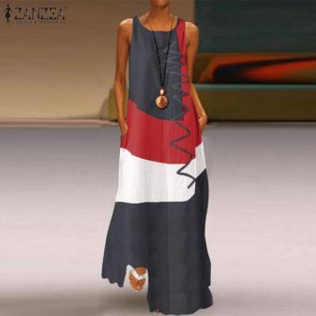 Oferta de Vestido Largo sin Mangas Zanzea para Mujer-Gris por $108900