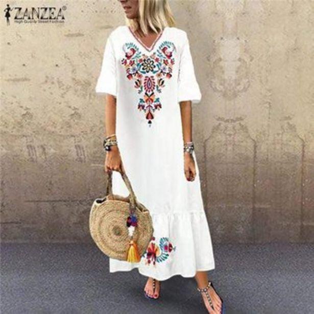 Oferta de Vestido Largo Ligero Zanzea para Mujer-Blanco por $101900