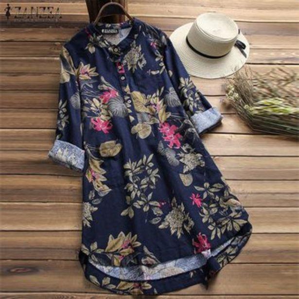 Oferta de ZANZEA Las mujeres más del tamaño mini floral corto vestido de Top Camiseta túnica de la blusa -Azul por $80900